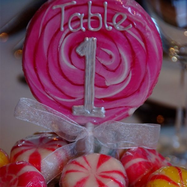 Lolly used as a table number – wedding barns Essex