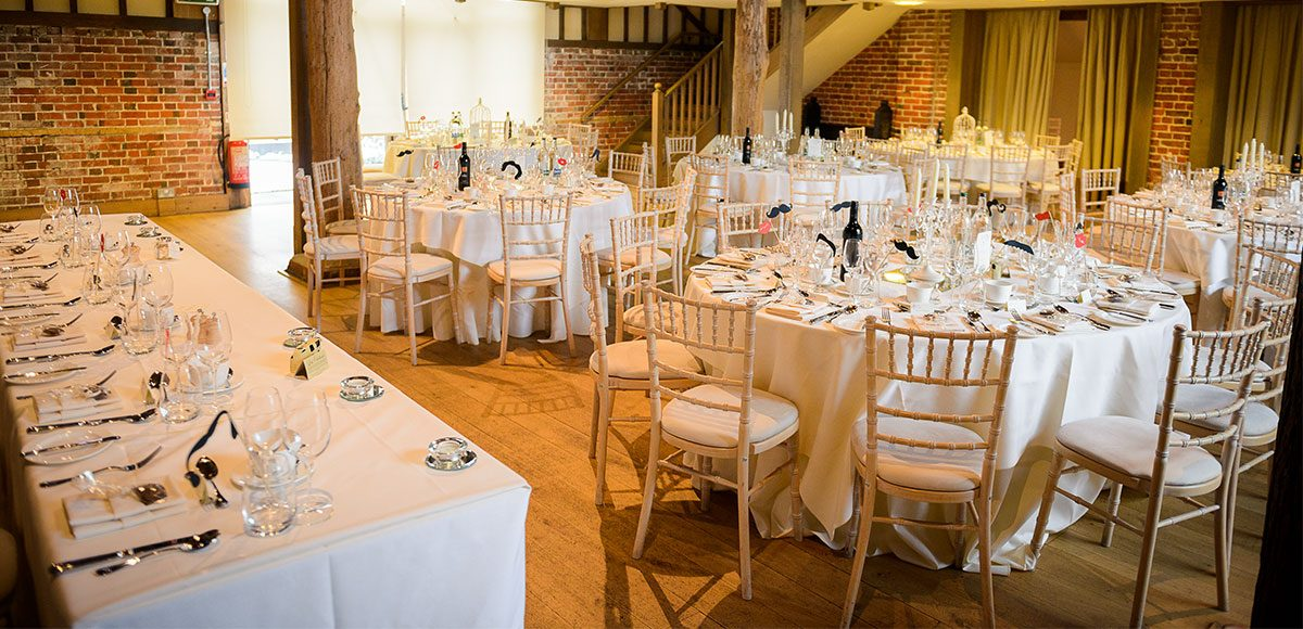Wedding reception decorations set up for a barn wedding in Essex