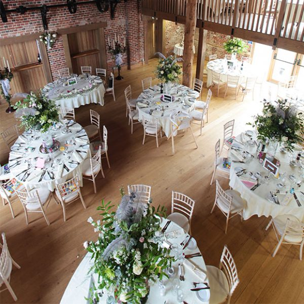 View of the table decorations at a Gaynes Park wedding reception