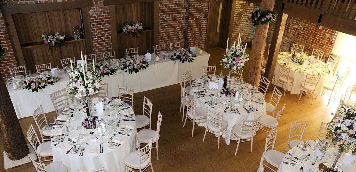 Mill Barn wedding decorations set up for a reception – wedding barns Essex
