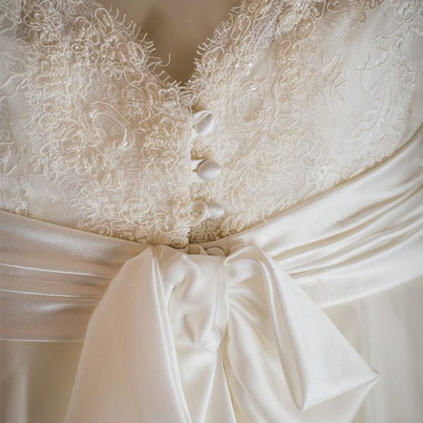 Wedding dress with bow detail for a Gaynes Park Spring wedding