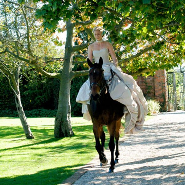 The bride rode down the aisle seated on her horse