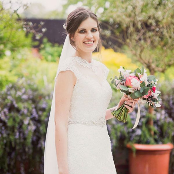 Close-up of bride's dress for her wedding day at Gaynes Park