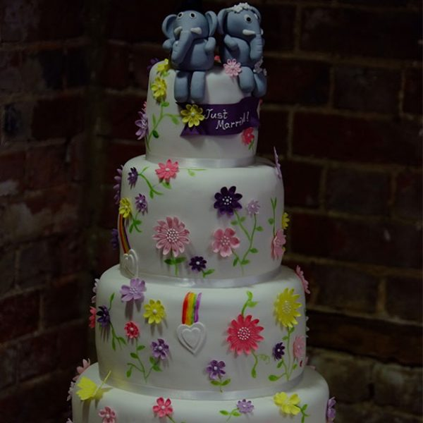 Colourful wedding cake with elephant cake toppers – barn weddings in Essex