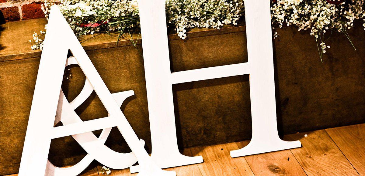 Large letter decorations for a wedding at Gaynes Park – wedding barns essex