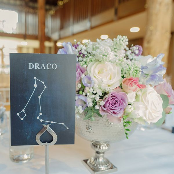Pastel centrepiece and star table names for a Gaynes Park wedding – barn hire Essex