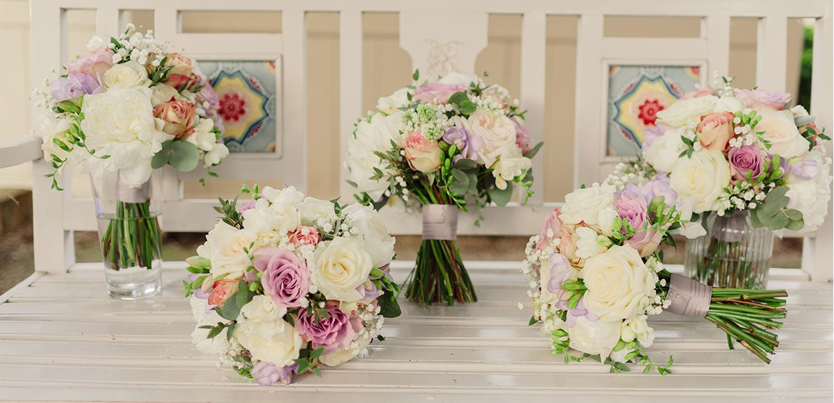 Pastel Spring wedding flowers for a Gaynes Park wedding – barn hire Essex