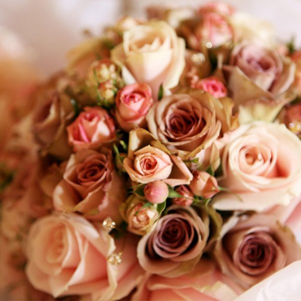 Close-up of pink rose bouquet for Spring wedding