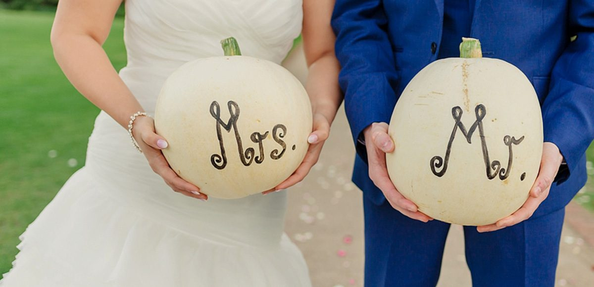 White pumpkins used as wedding decorations