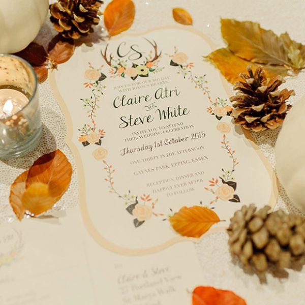 Beautiful autumnal wedding stationery