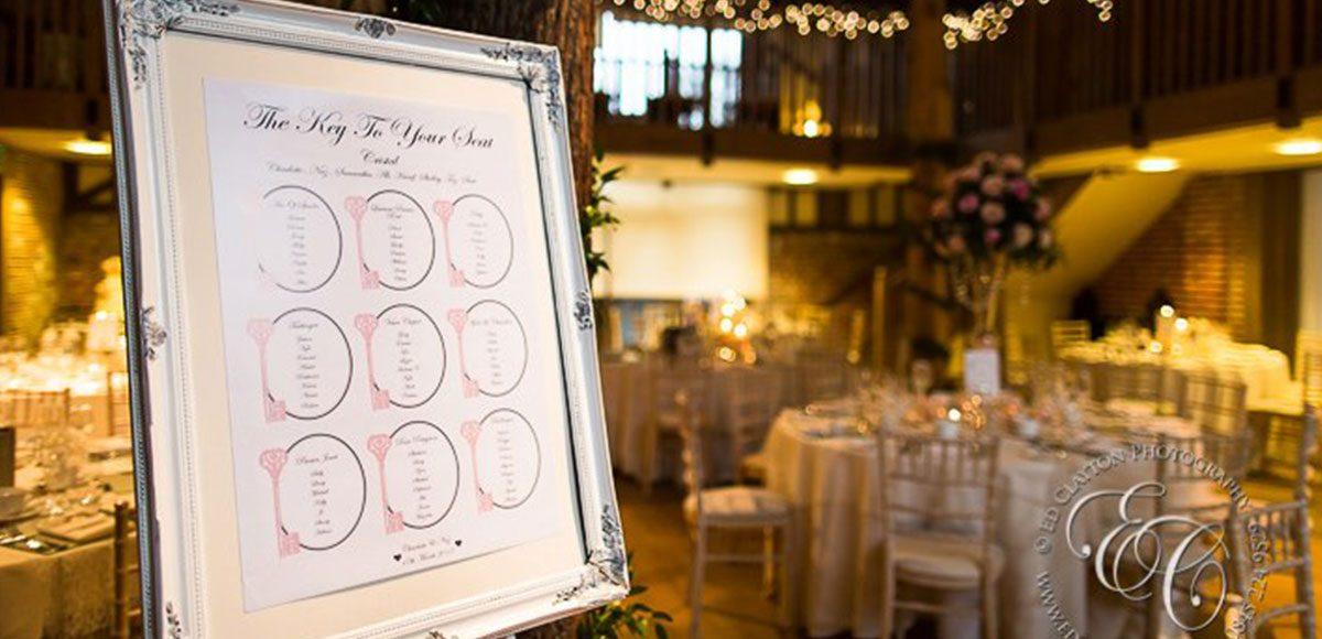 Table plan for a barn wedding venue reception