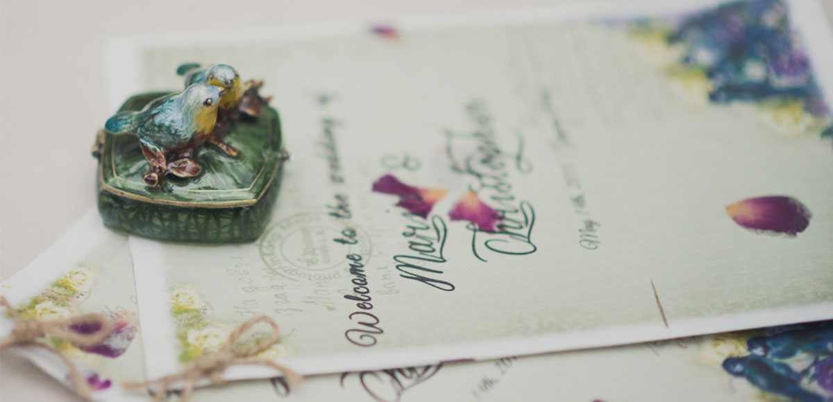 Close up of wedding stationery for an Essex barn wedding