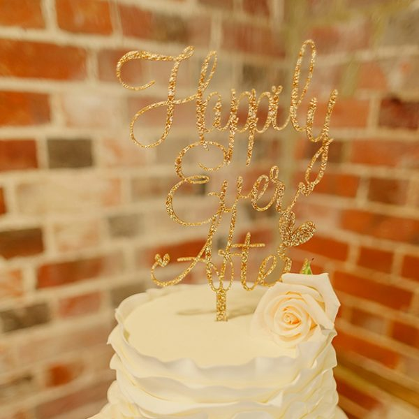Sparkly happily ever after wedding cake topper