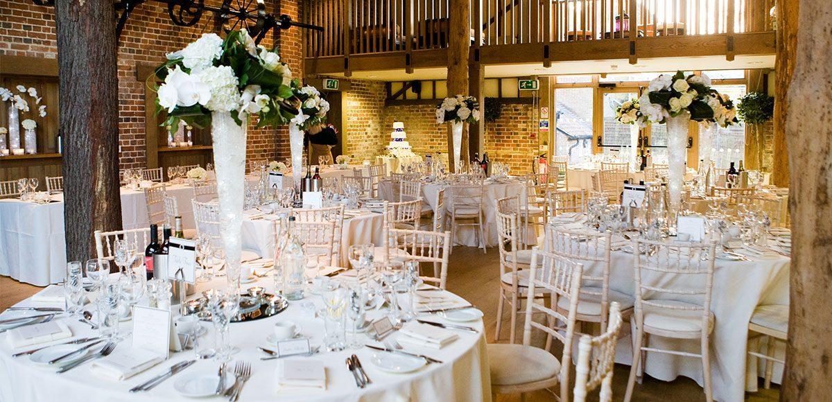 Mill Barn set up for a wedding reception – wedding barns Essex