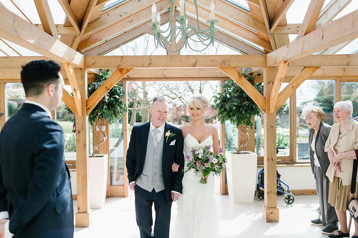 Purple flowers at Gaynes Park civil wedding ceremony - wedding venues in Essex