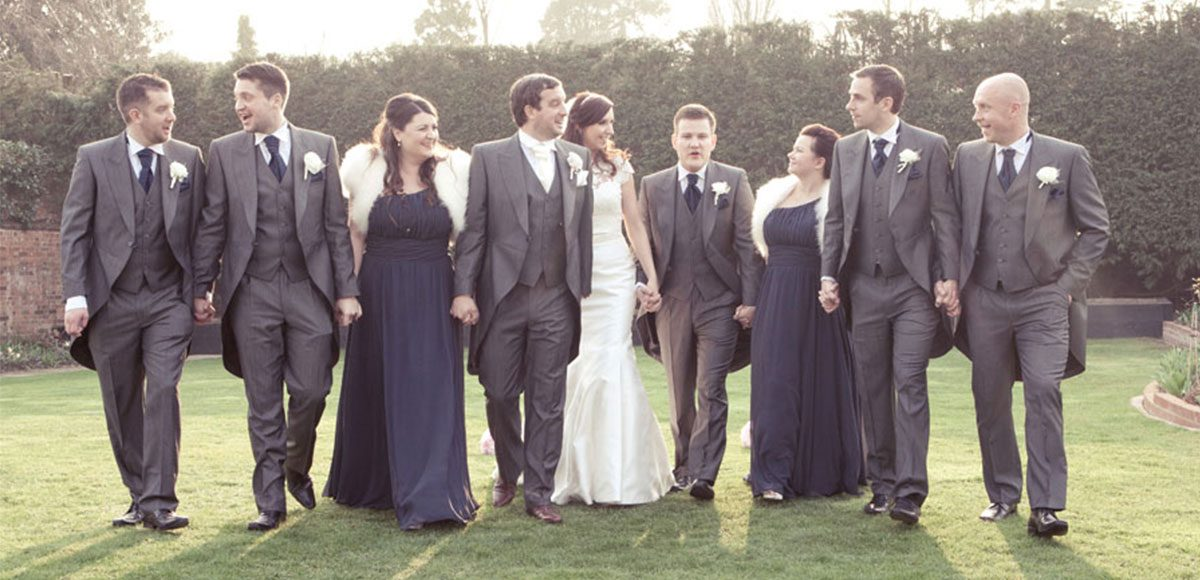 Bride and groom with their bridesmaids and groomsmen
