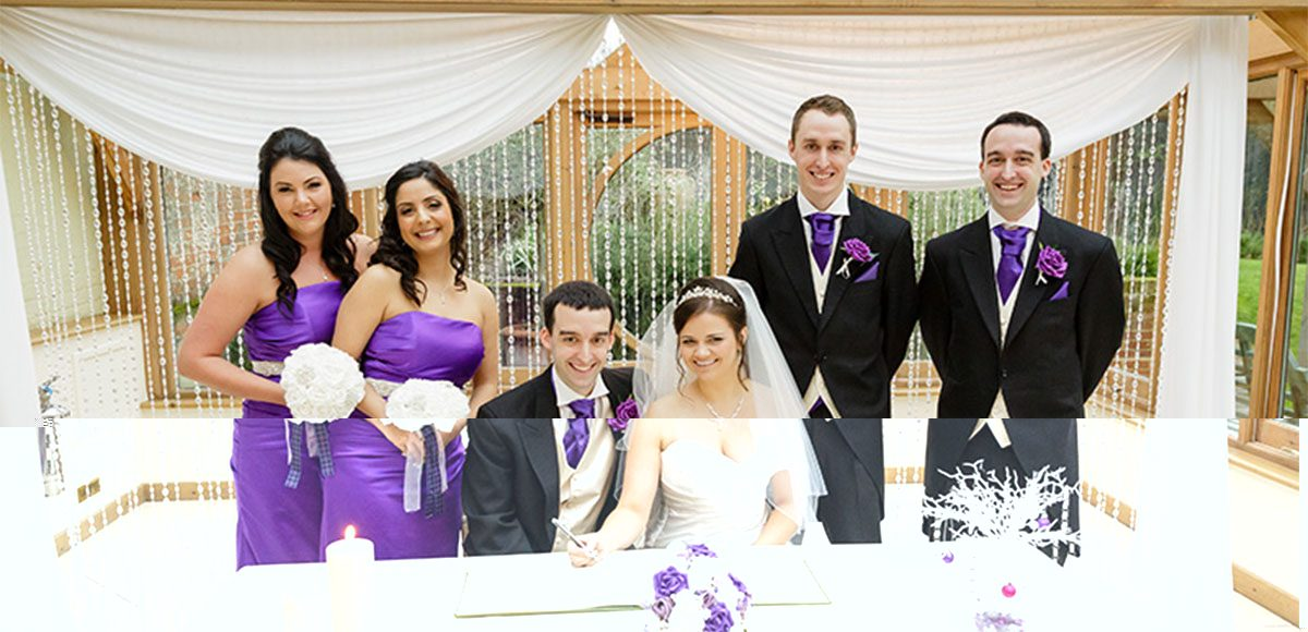Bride and groom with their bridesmaids and groomsmen dressed in purple – wedding venues in Essex