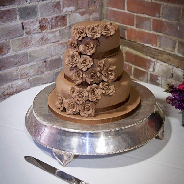 Chocolate wedding cake for a Gaynes Park wedding reception