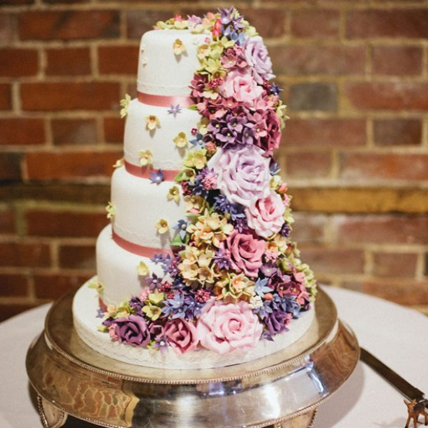 Pretty flower wedding cake for a Gaynes Park wedding