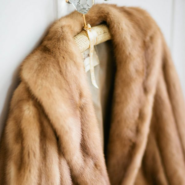 Fur jacket for a winter wedding