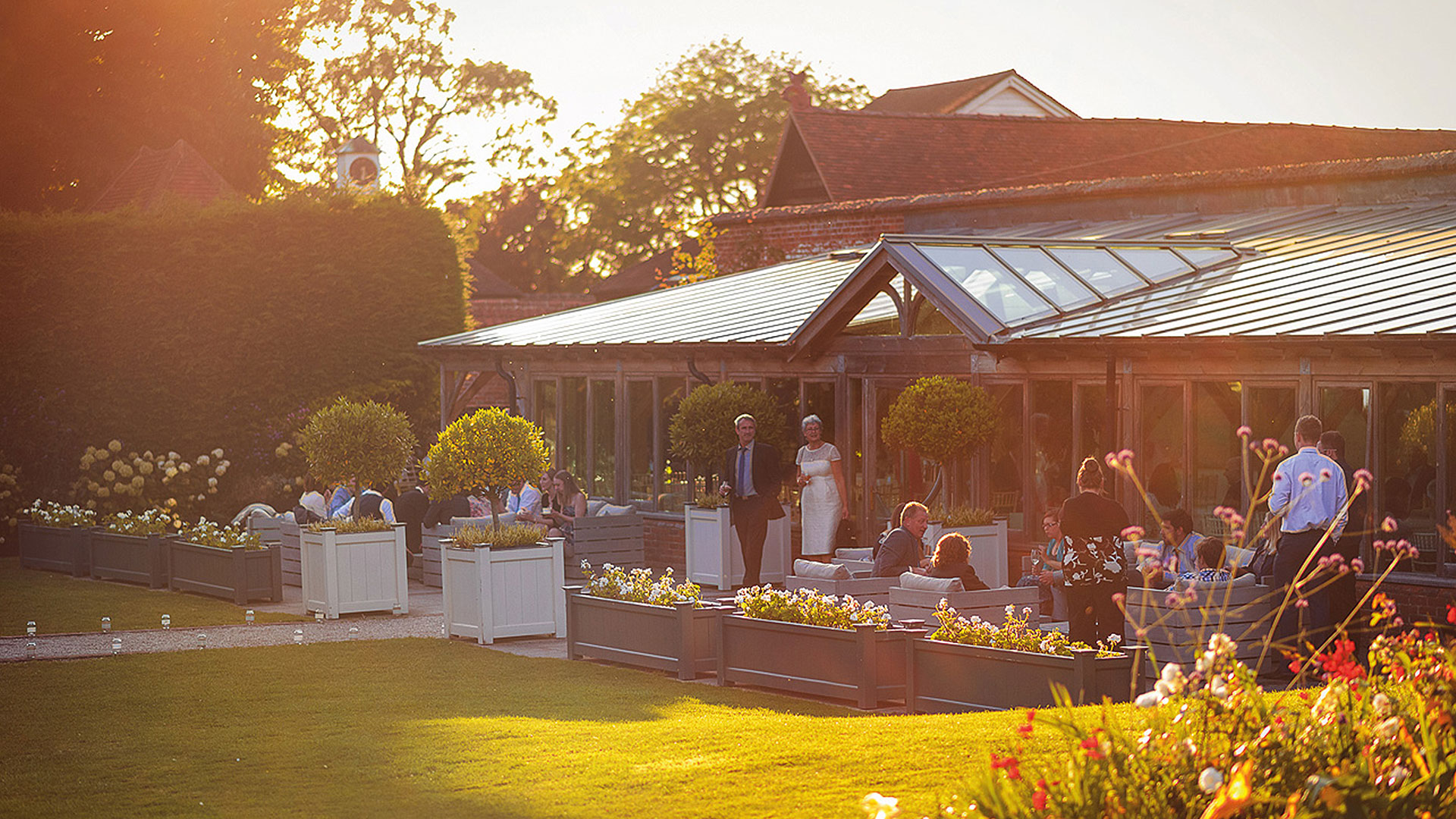 The Walled Garden and Orangery is a relaxing space for guests to enjoy a drinks wedding reception