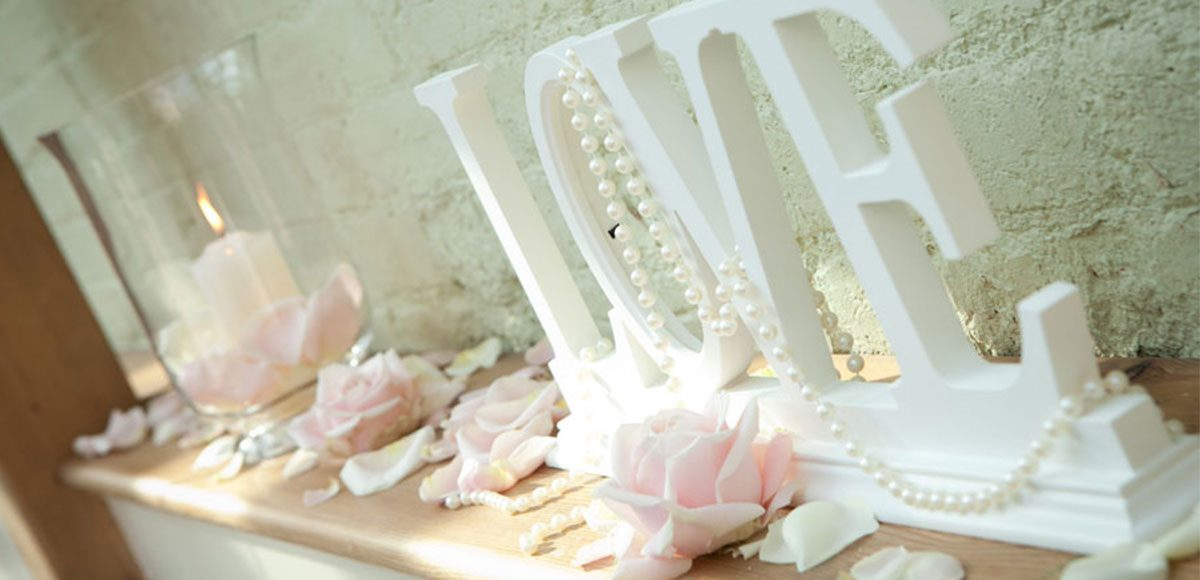 Petals and love letter sign to decorate the Orangery – venues in Essex