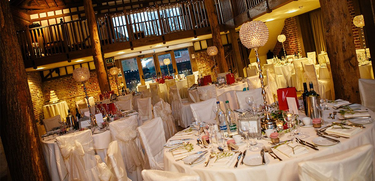 The reception barn set up for a Winter wedding – barn hire Essex