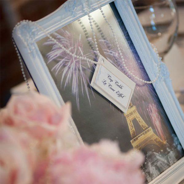 Paris themed table name for a Gaynes Park wedding