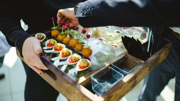 Our wedding catering team create the most amazing and delicious wedding canapes