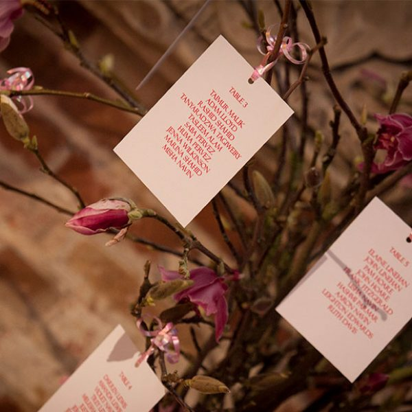 Tree table plan for a barn wedding reception in Essex