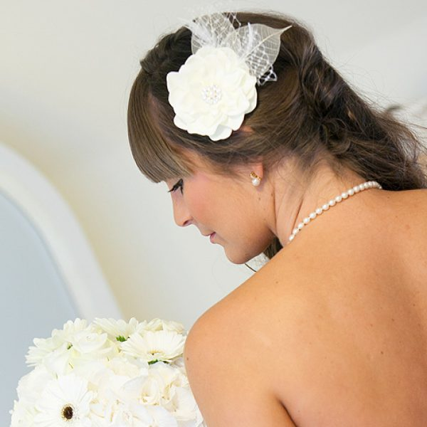 Wedding hair ideas – ivory flower hair accessory