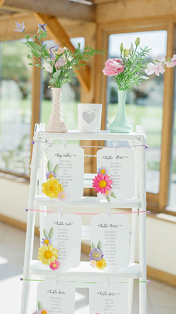 A white wooden ladder is used for the couple's table plan - wedding ideas for a summer wedding