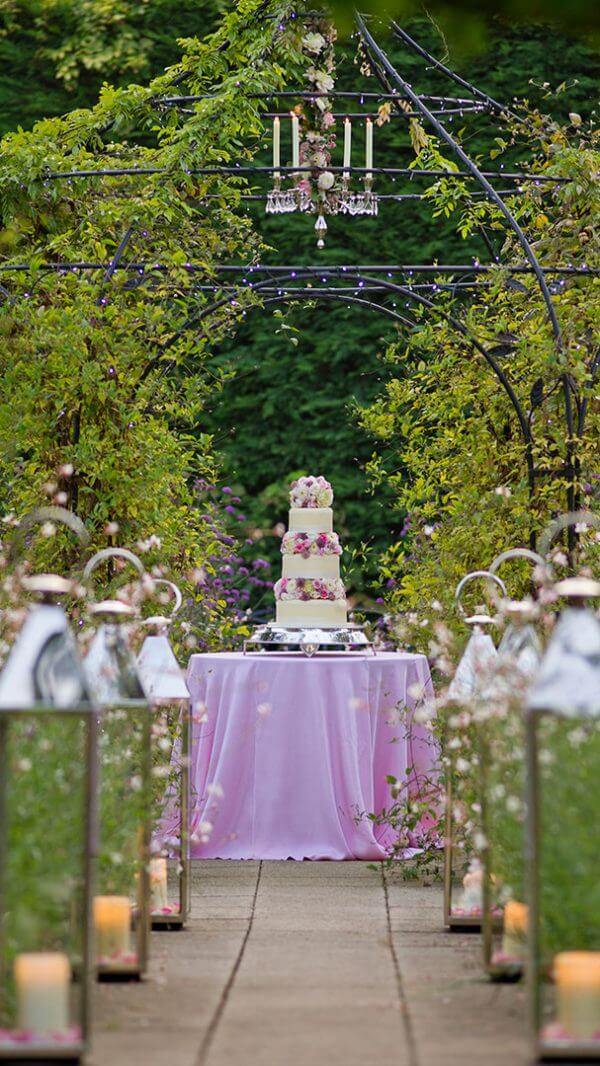 Decorate the gardens with lanterns and chandeliers - purple flowers