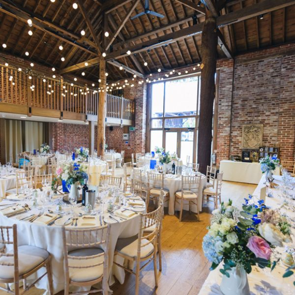 Spring flowers on the tables at Gaynes Park wedding venue