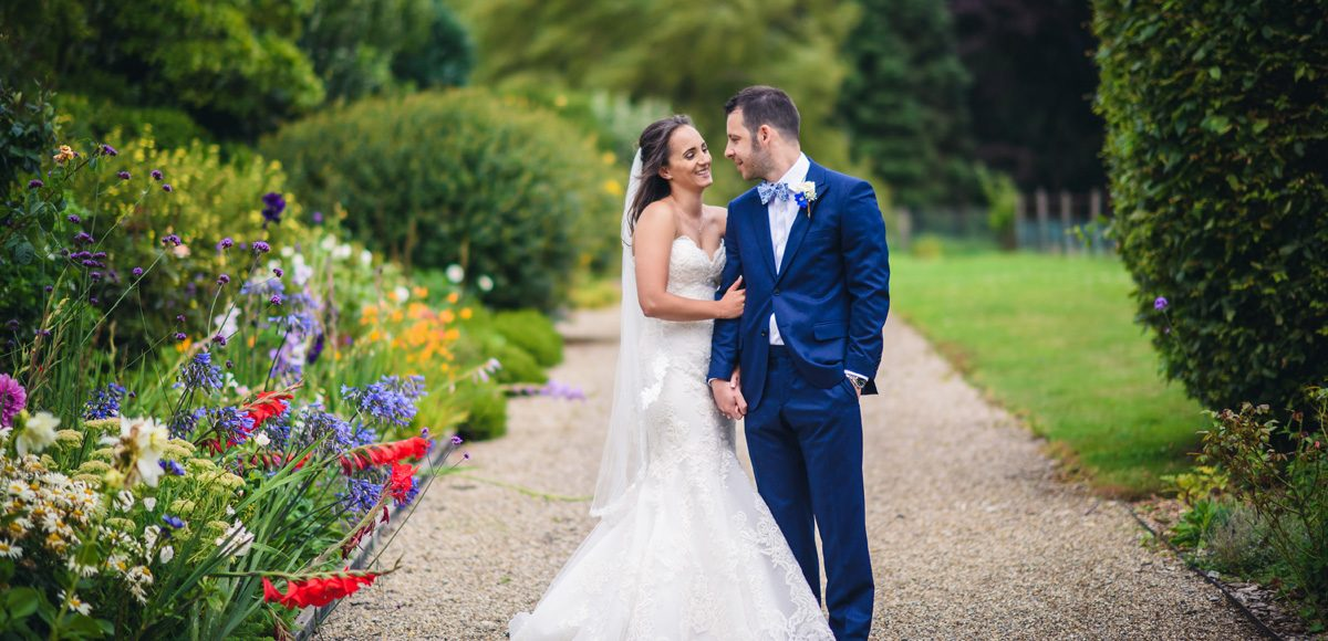 Colourful flowers in the gardens of Gaynes Park for the bride and groom to enjoy