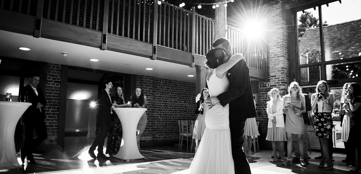 Bride and groom enjoy their first dance