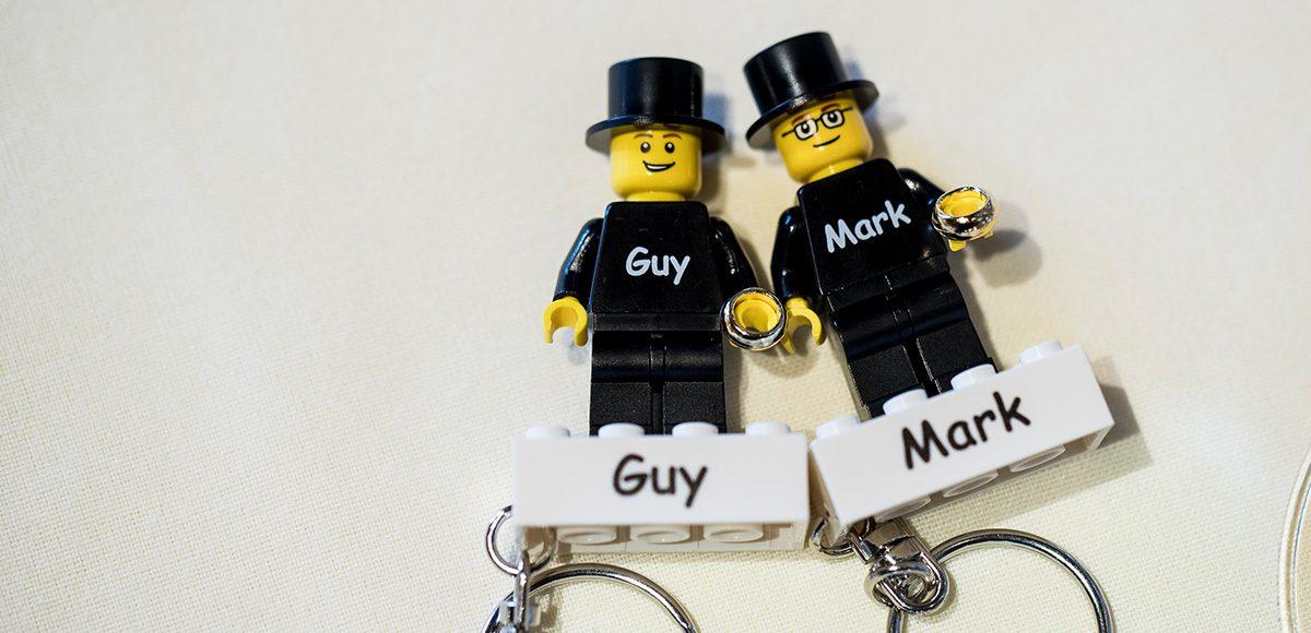 Each guest was given a Lego block keyring as a wedding favour – wedding ideas