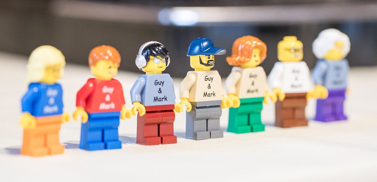 A number of Lego men are lined up and used as part of the couple's wedding décor – wedding ideas