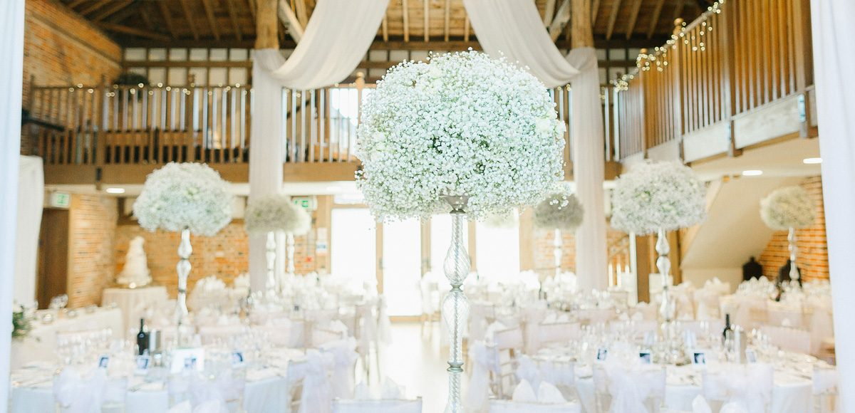 The Mill Barn at Gaynes Park decorated for a wedding breakfast