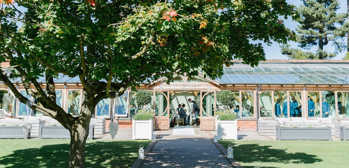 Outside the beautiful Orangery at gaynes Park in the sunshine