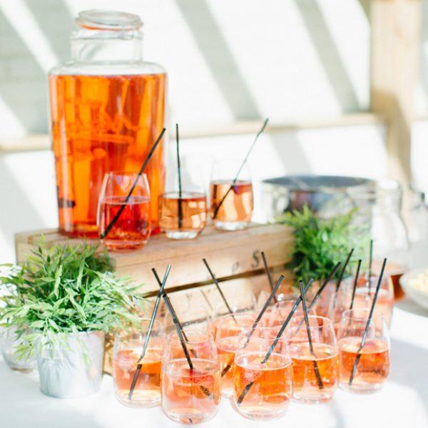 Summer wedding reception drinks in the Orangery at Gaynes Park