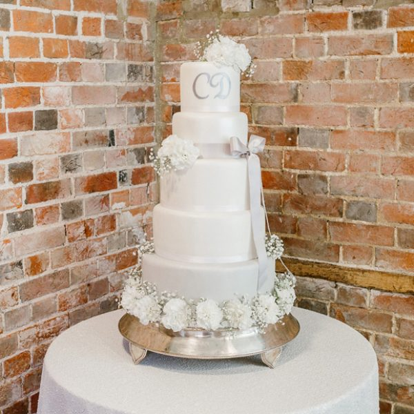 Wedding cake with lilac detail
