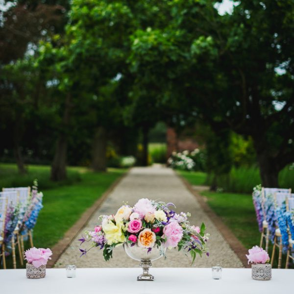 Wedding flowers in the outdoor space at Gaynes Park