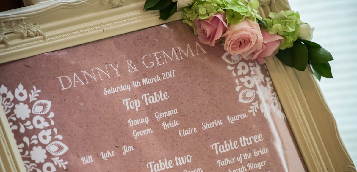 A blush pink and white table plan was adorned with spring wedding flowers perfect for a rustic wedding