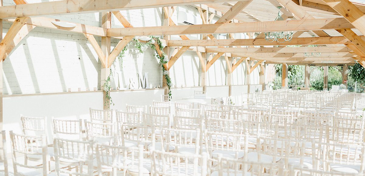 The Orangery at Gaynes Park in Essex is set up for a wedding ceremony