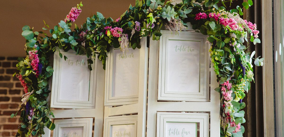 A table plan is adorned with flowers for a country feel wedding at Gaynes Park in Essex