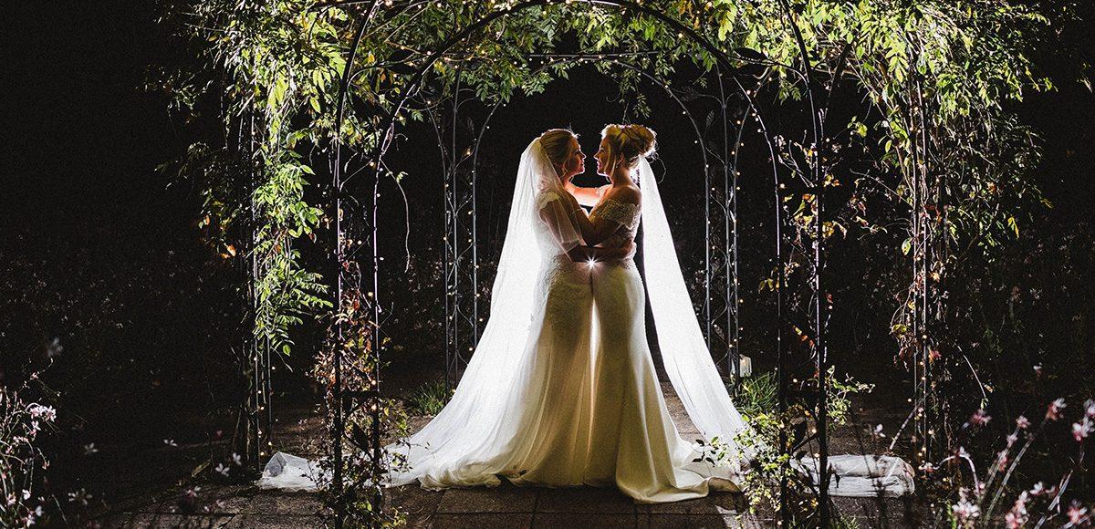 Brides enjoy the romance of the Pavillion on their wedding evening at Gaynes Park in Essex