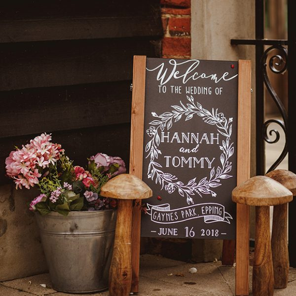 A rustic chalkboard wedding sign is a fantastic way of informing guests of the running order of your day at Gaynes Park