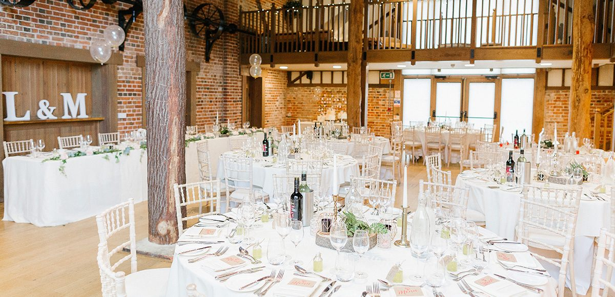 The Mill Barn at Gaynes Park is the perfect setting for a rustic wedding breakfast
