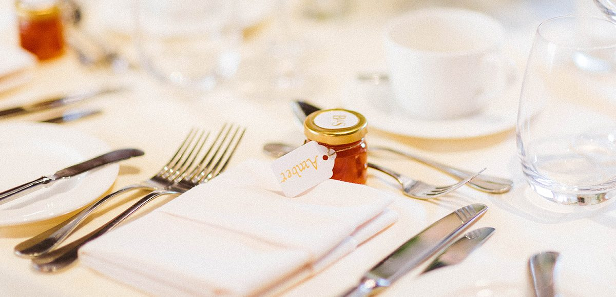 At Gaynes Park a couple gave guests homemade jam as a rustic wedding favour